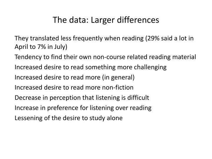 The data: Larger differences