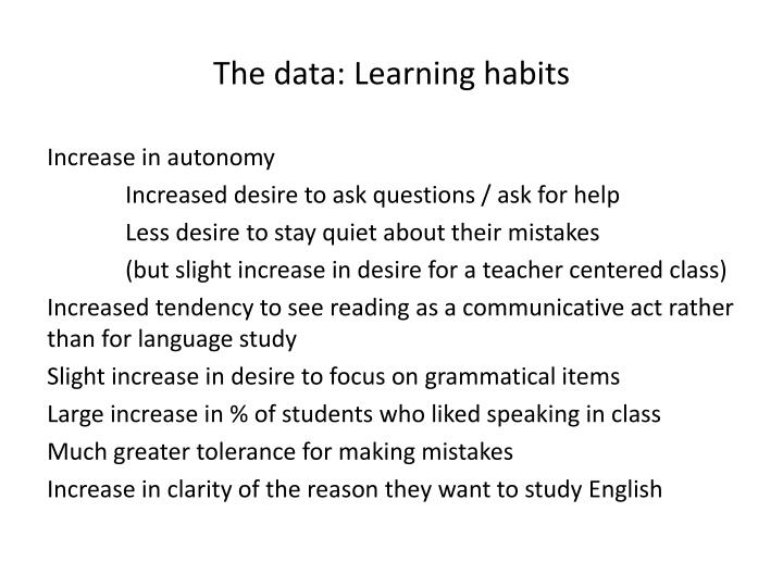 The data: Learning habits