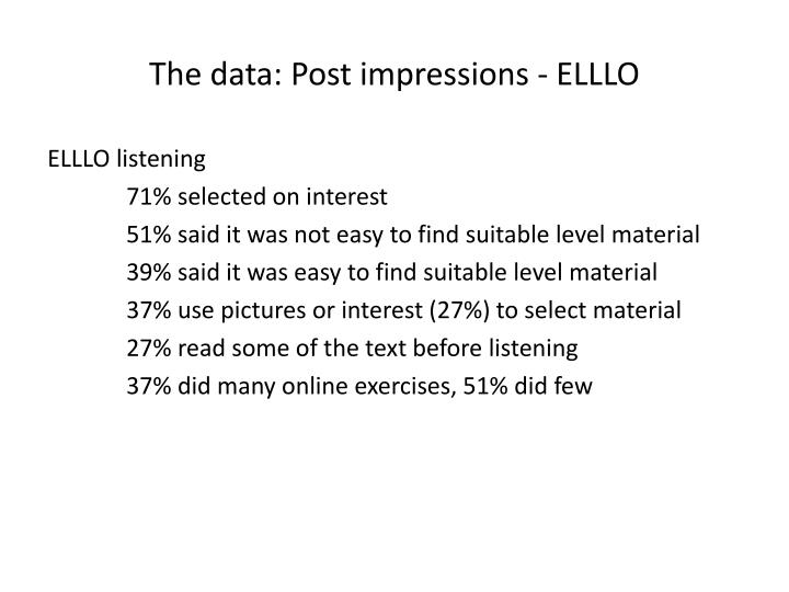 The data: Post impressions - ELLLO