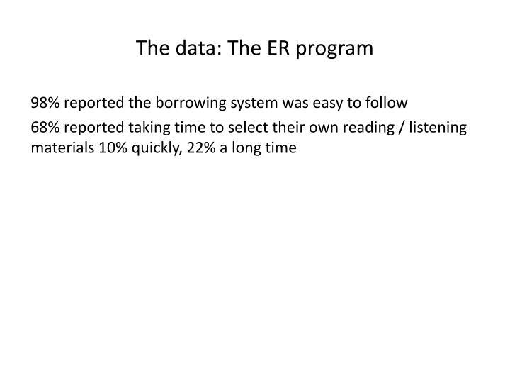 The data: The ER program