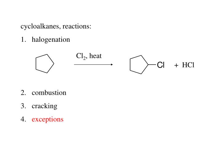 cycloalkanes, reactions: