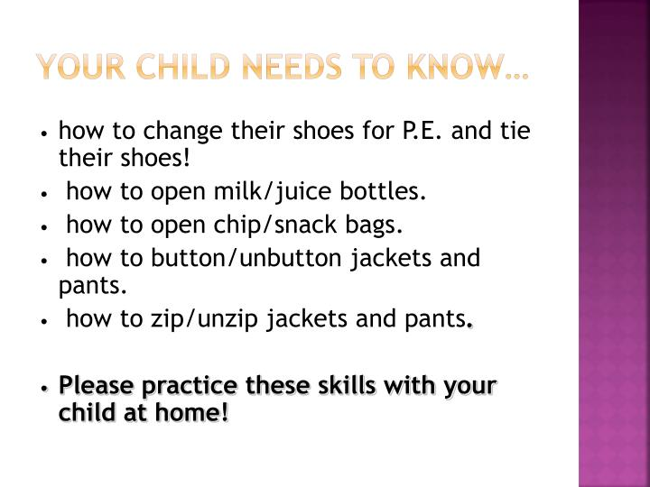 Your child needs to know…