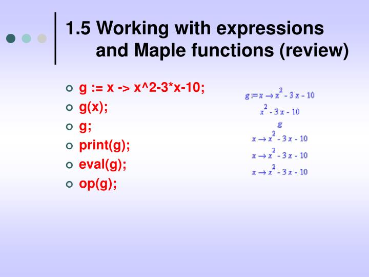 1.5 Working with expressions