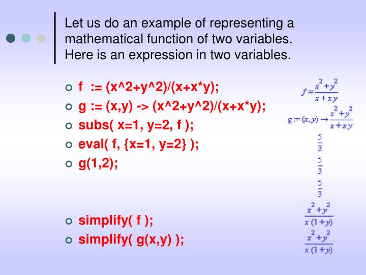 Let us do an example of representing a mathematical function of two variables.