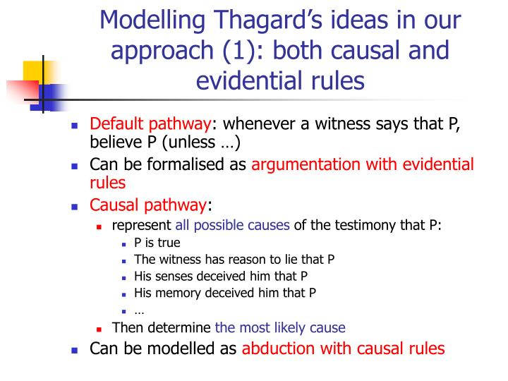 Modelling Thagard's ideas in our approach (1): both causal and evidential rules
