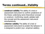 terms continued validity