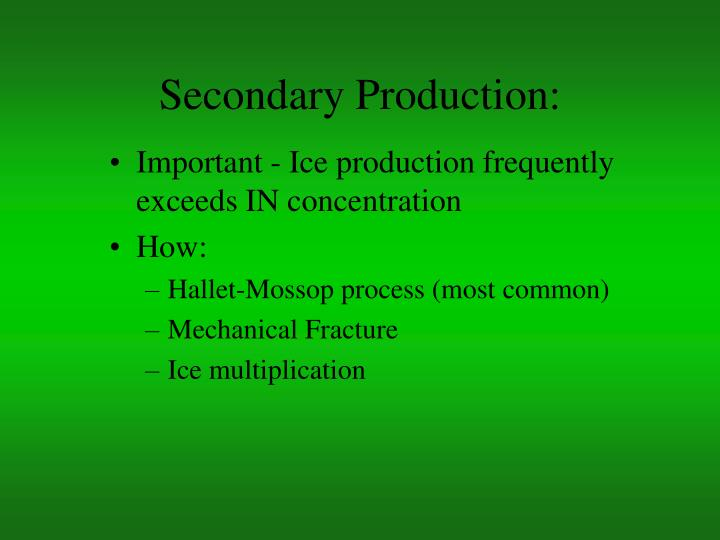 Secondary Production: