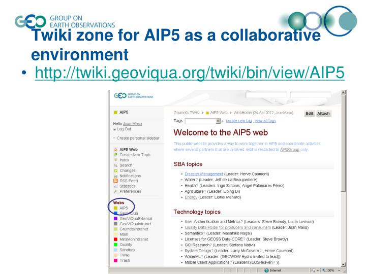 Twiki zone for aip5 as a collaborative environment