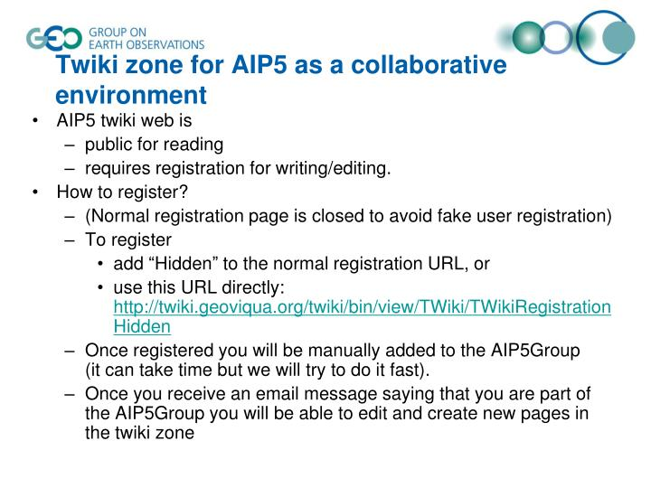 Twiki zone for aip5 as a collaborative environment1