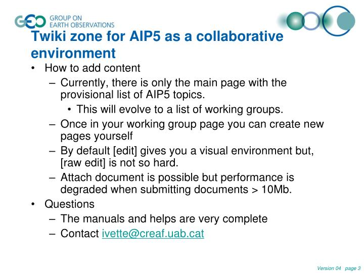 Twiki zone for aip5 as a collaborative environment2
