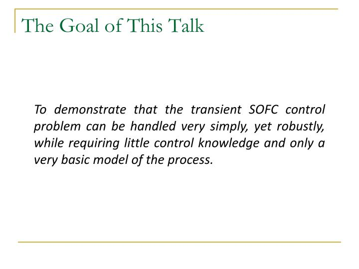 The goal of this talk