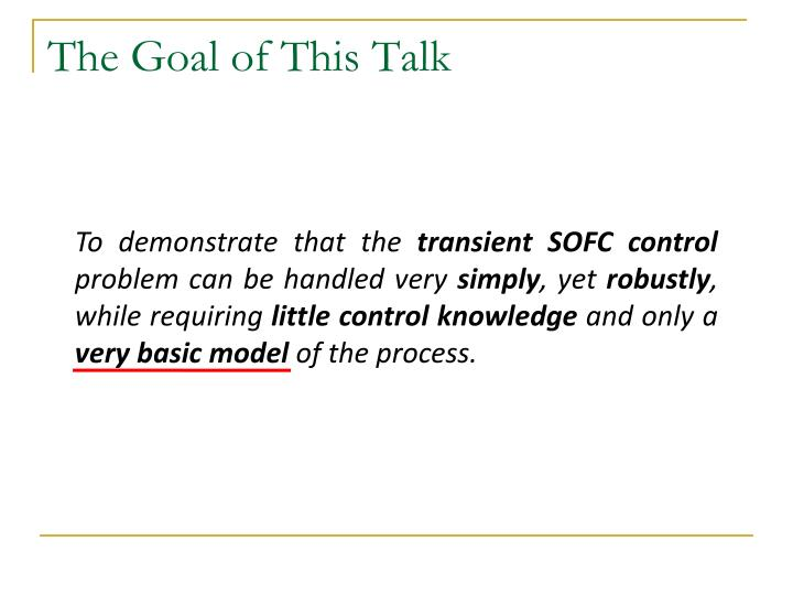 The goal of this talk1