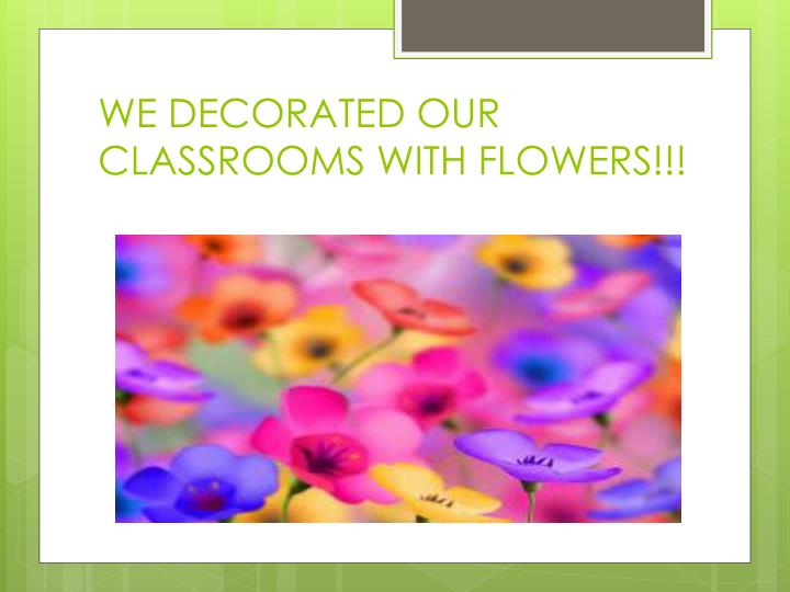 WE DECORATED OUR CLASSROOMS WITH FLOWERS!!!