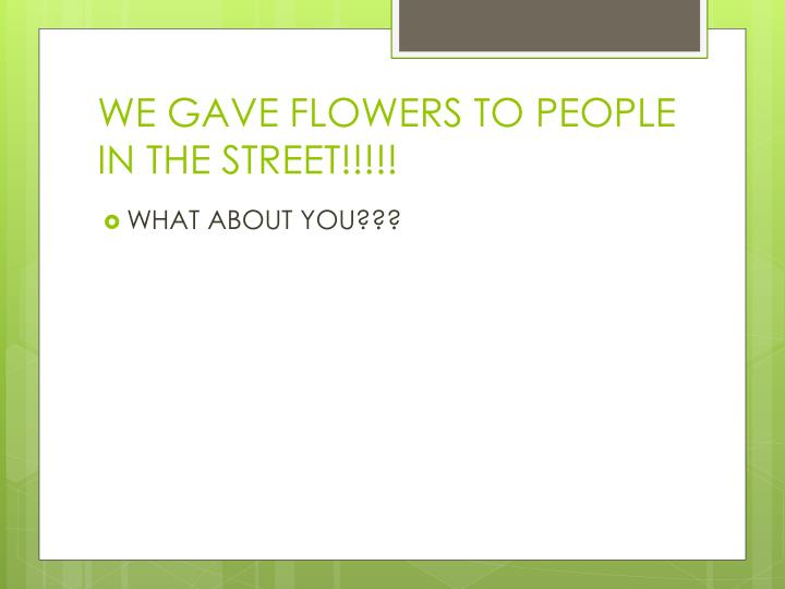 WE GAVE FLOWERS TO PEOPLE IN THE STREET!!!!!