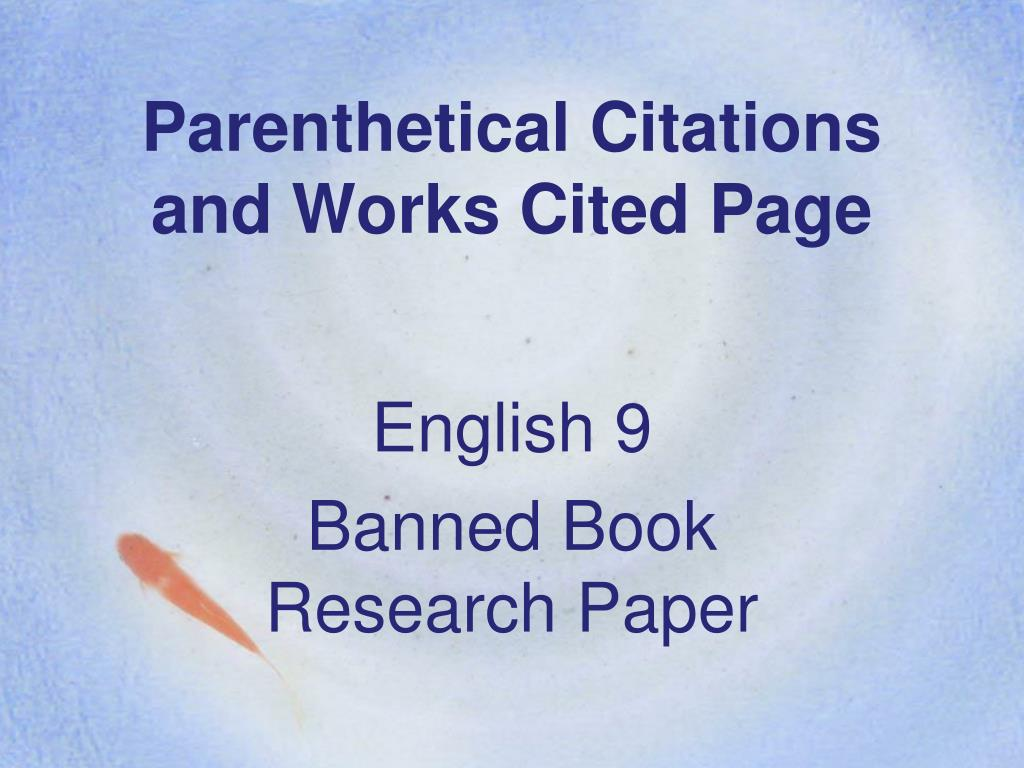 works cited page powerpoint