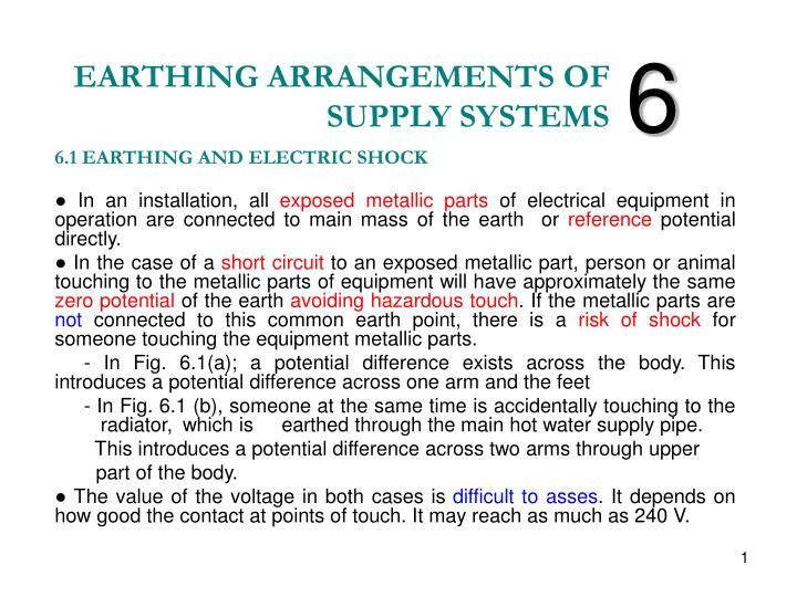 earthing arrangements of supply systems n.