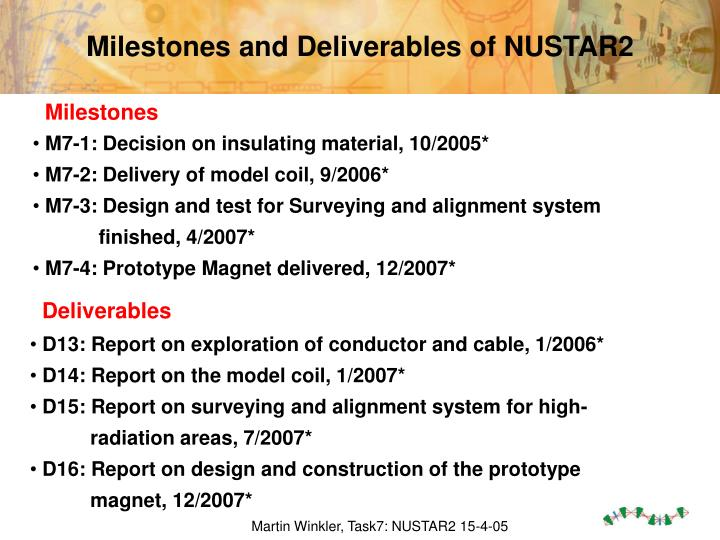 Milestones and Deliverables of NUSTAR2