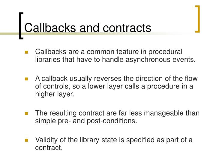 Callbacks and contracts