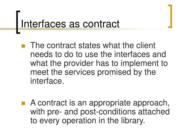 Interfaces as contract