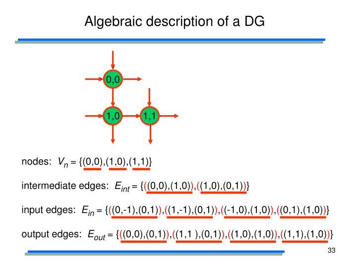 Algebraic description of a DG