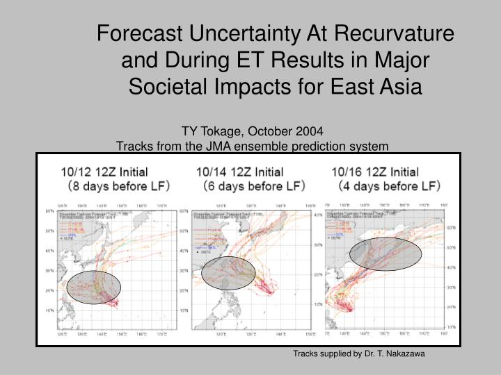 Forecast Uncertainty At Recurvature and During ET Results in Major Societal Impacts for East Asia