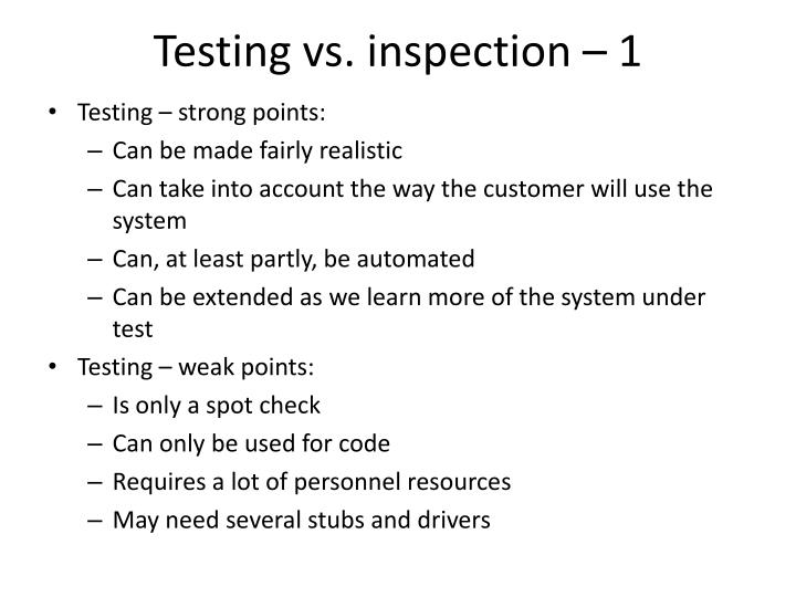 Testing vs. inspection – 1
