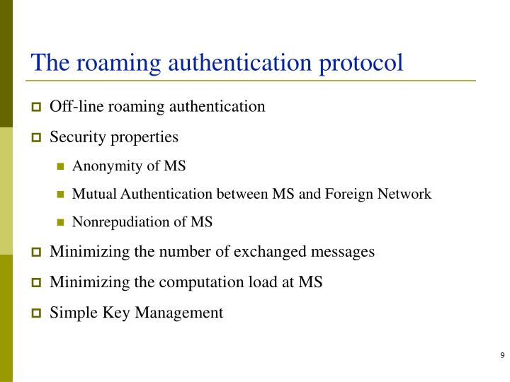 The roaming authentication protocol