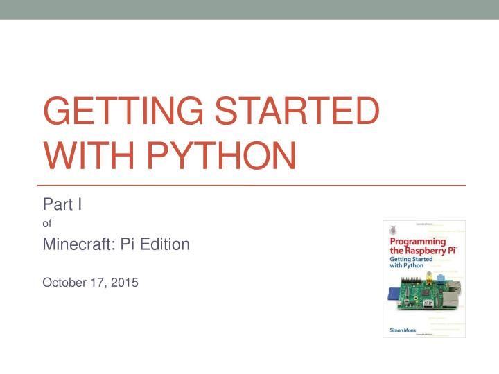 getting started with python n.