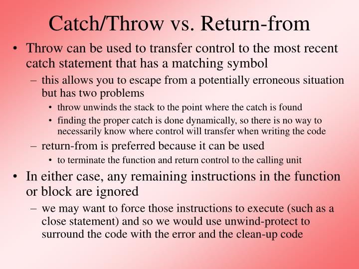 Catch throw vs return from