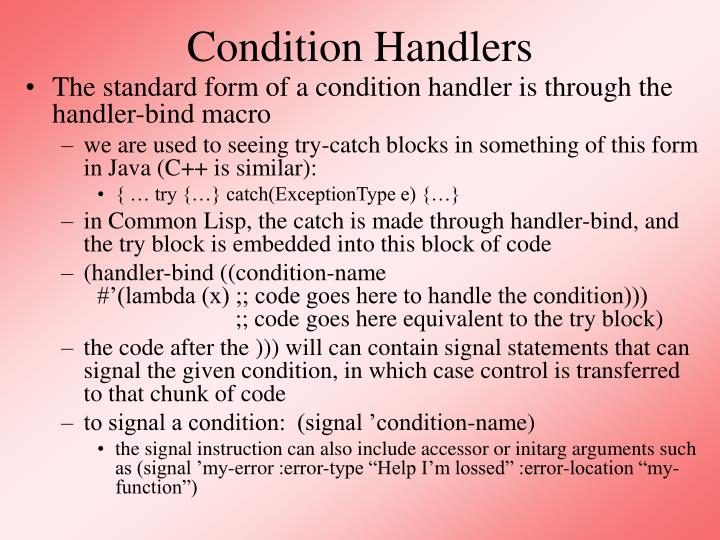 Condition Handlers