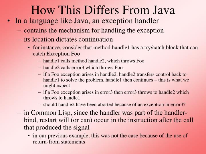 How This Differs From Java