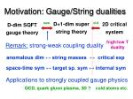 motivation gauge string dualities