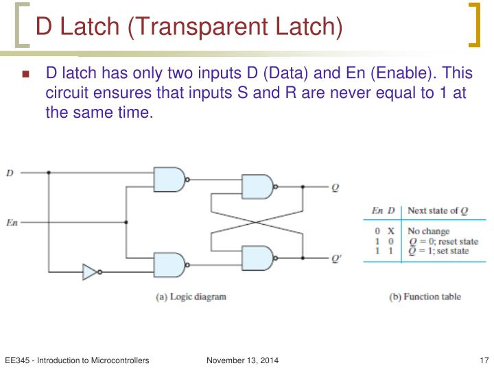 D Latch (Transparent Latch)