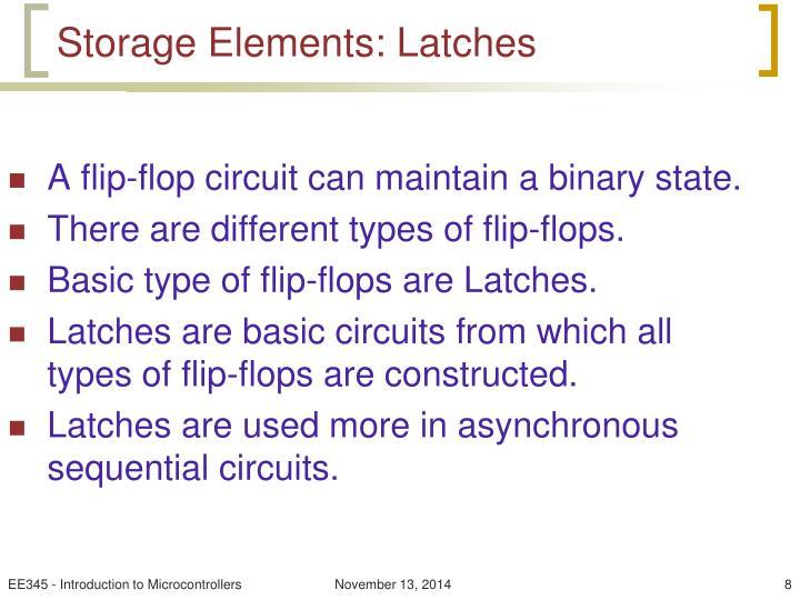 Storage Elements: Latches