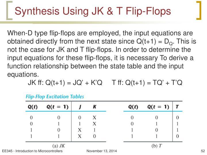Synthesis Using JK & T Flip-Flops