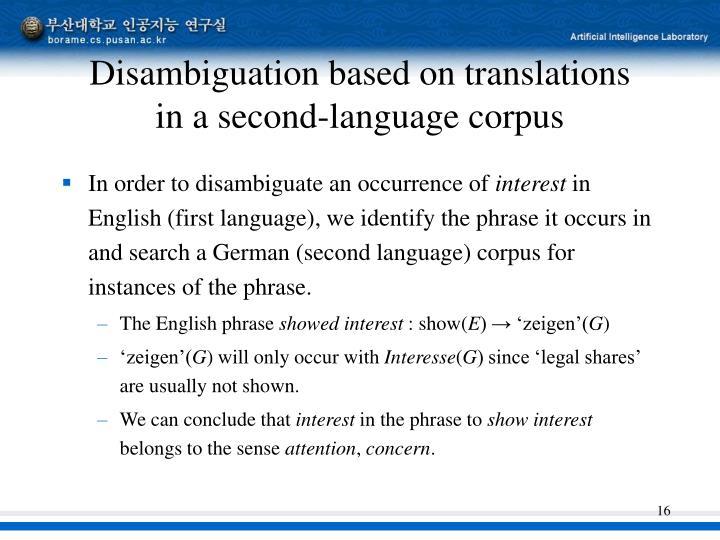 Disambiguation based on translations