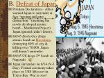 b defeat of japan