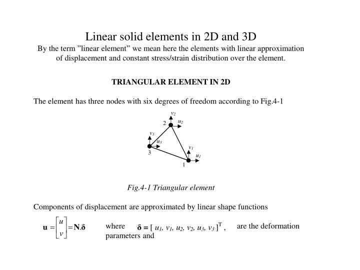Linear solid elements in 2D and 3D