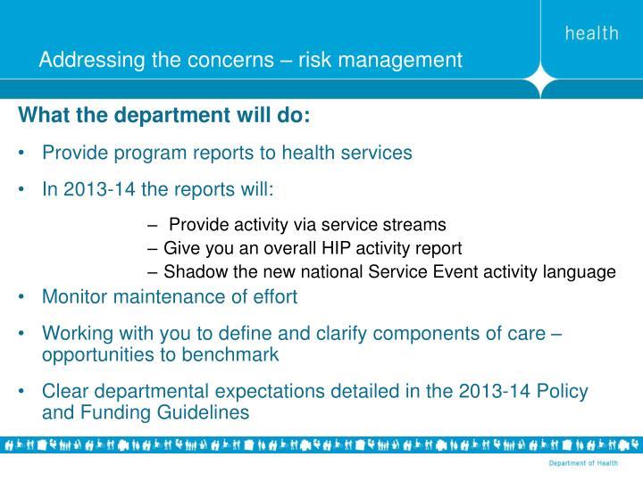 Addressing the concerns – risk management