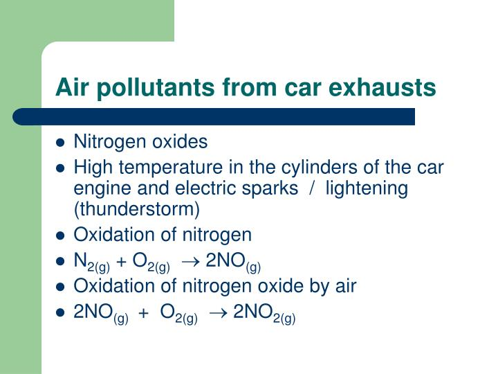 Air pollutants from car exhausts