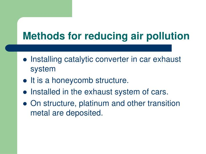 Methods for reducing air pollution