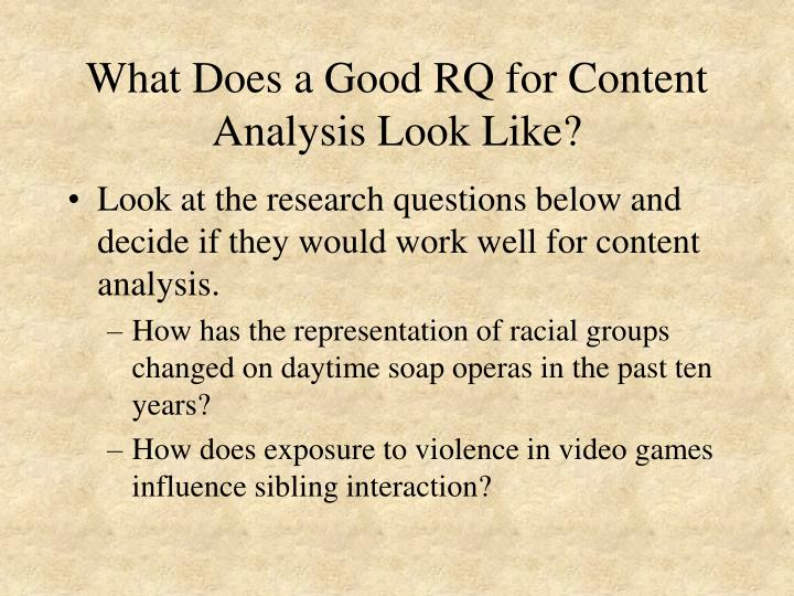What Does a Good RQ for Content Analysis Look Like?