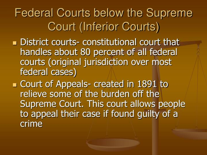 Federal Courts below the Supreme Court (Inferior Courts)