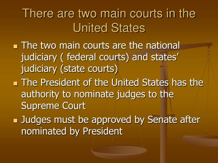 There are two main courts in the united states