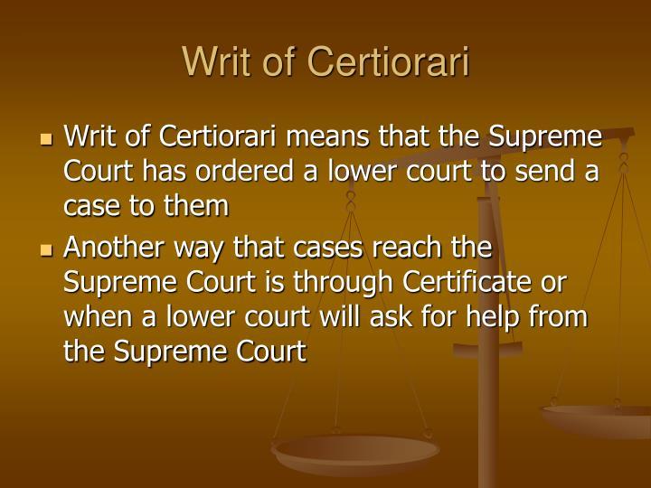 Writ of Certiorari