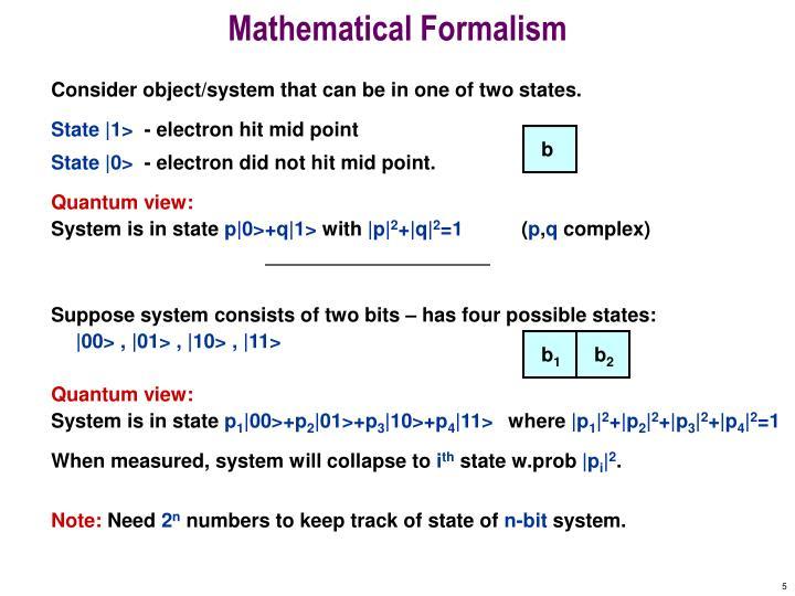 Mathematical Formalism