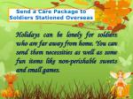 send a care package to soldiers stationed overseas