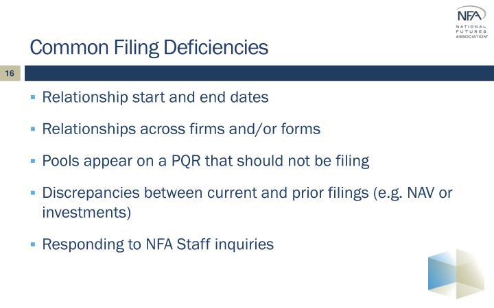 Common Filing Deficiencies