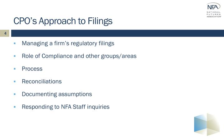 CPO's Approach to Filings