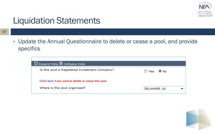 Liquidation Statements